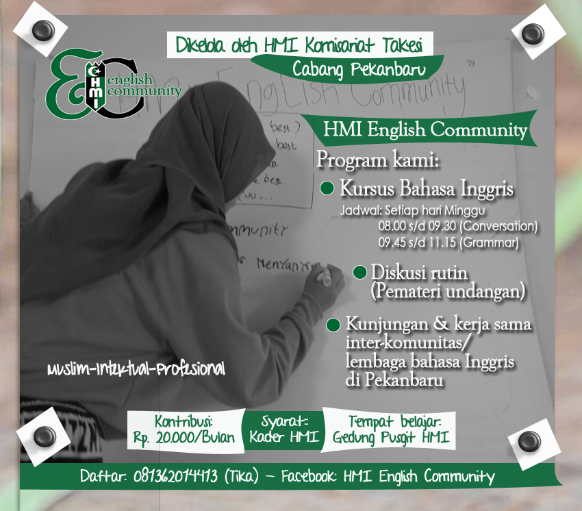 Pamflet pendaftaran HMI English Community