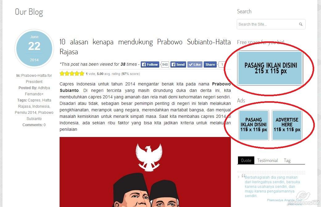 Space iklan gratis di adhityafernando.com