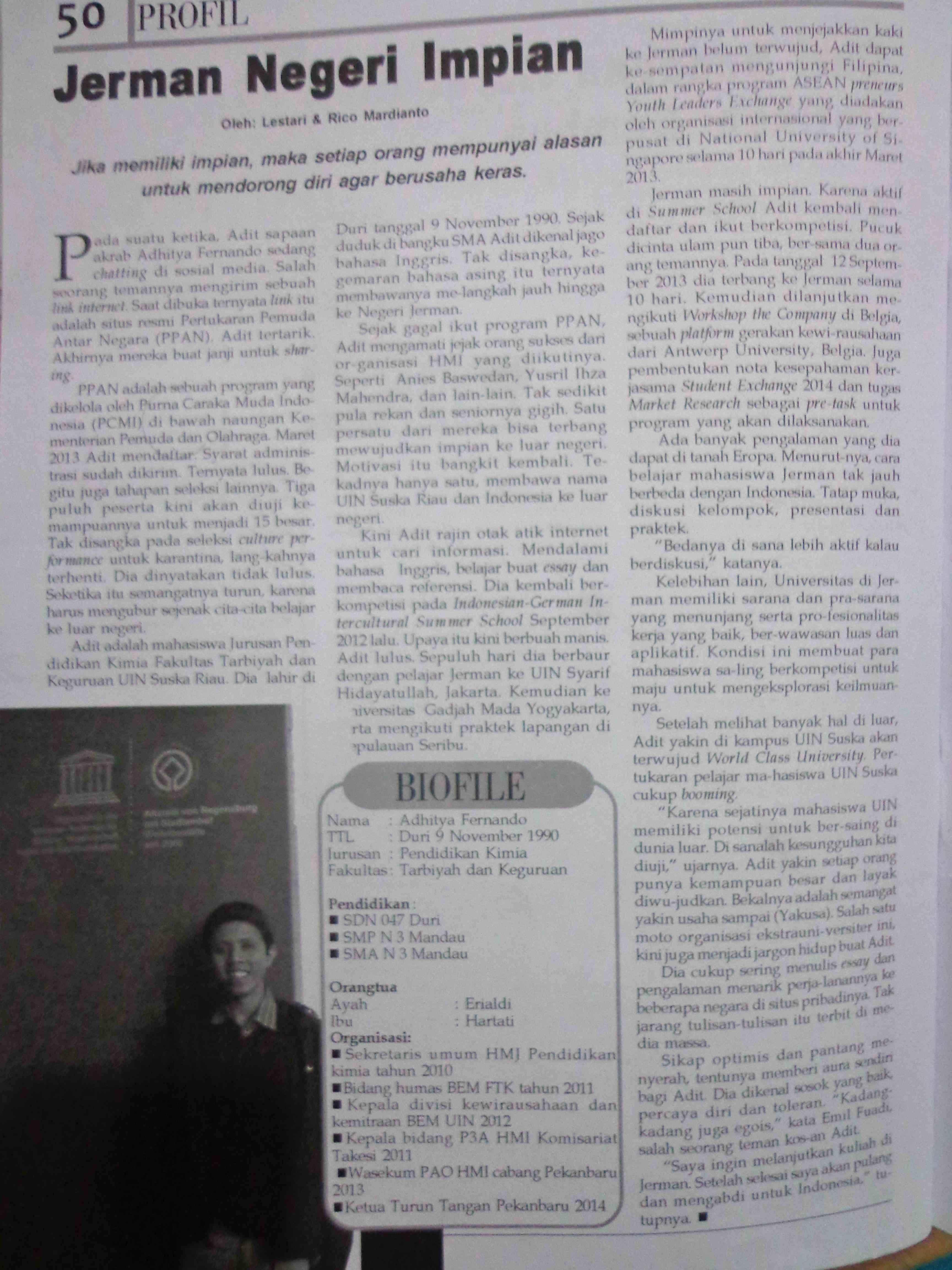 Jerman negeri impian: dipublikasikan di majalah Gagasan edisi 97