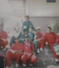 Adhitya bersama teman-teman drumband di pelabuhan Bengkalis