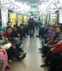 Adhitya bersama teman-teman YIB di kereta komuter Jakarta